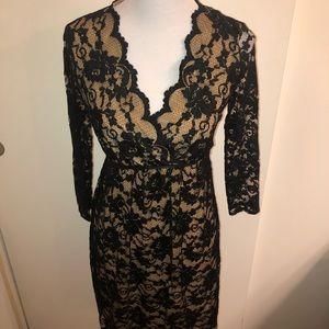 Max Studio Dresses - Black Lace Midi Dress w/Nude Lining